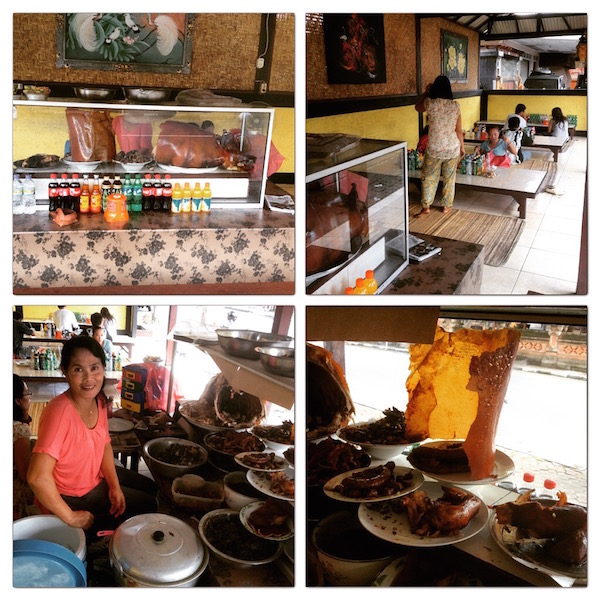 The Warung with a big piece of pig skin (yellow looking upright sheet)