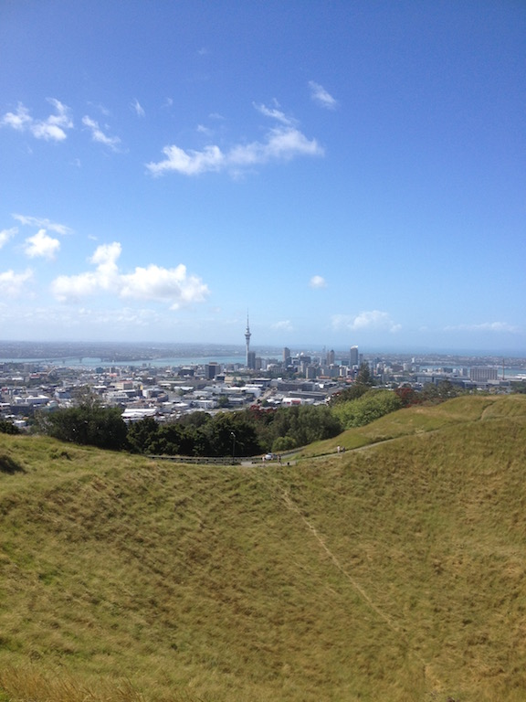 Enjoy the view of Auckland from Mt. Eden.
