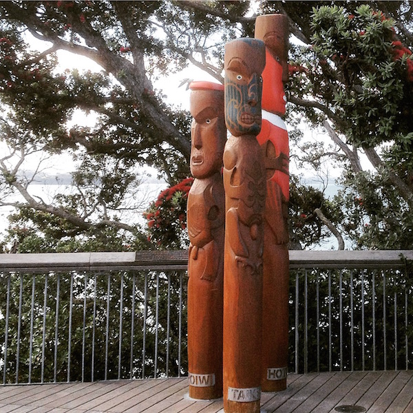 Visit Achilles Point Lookout. You'll find these carved Pouwhenua representing Hotorua, Taikehu and Horoiwi.