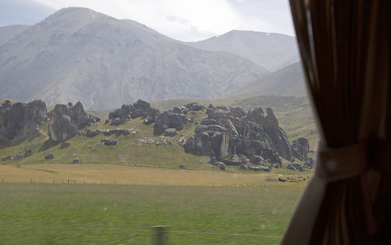 Passing by limestone boulders of Castle Hill (Kura Tawhiti) along the Great Alpine Highway in Canterbury.