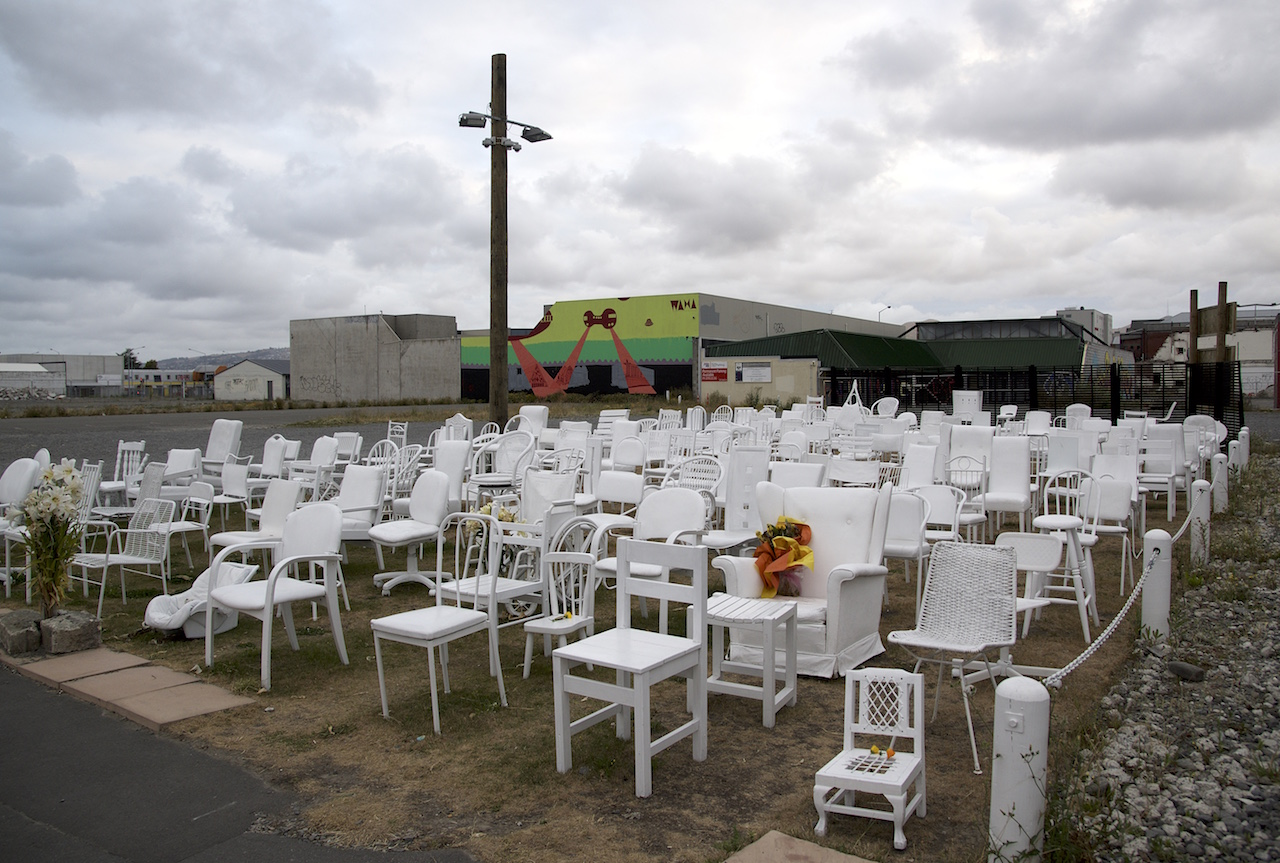 Earthquake Memorial 185 white empty chairs