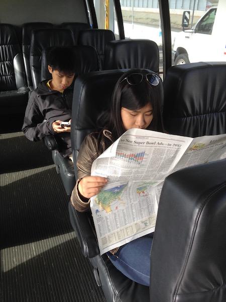 Kids inside Caltrain to Palo Alto