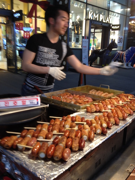A variety of Korean hot dogs