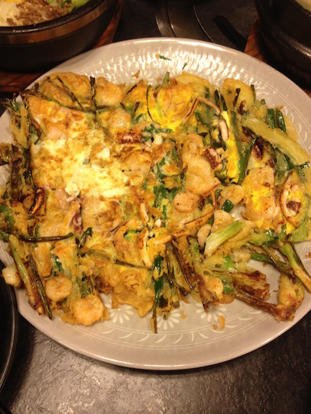 Korean seafood and scallion pancakes