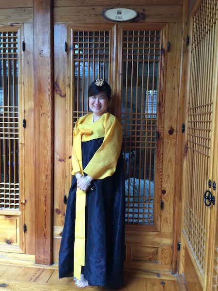 That's me in a hanbok and without shoes