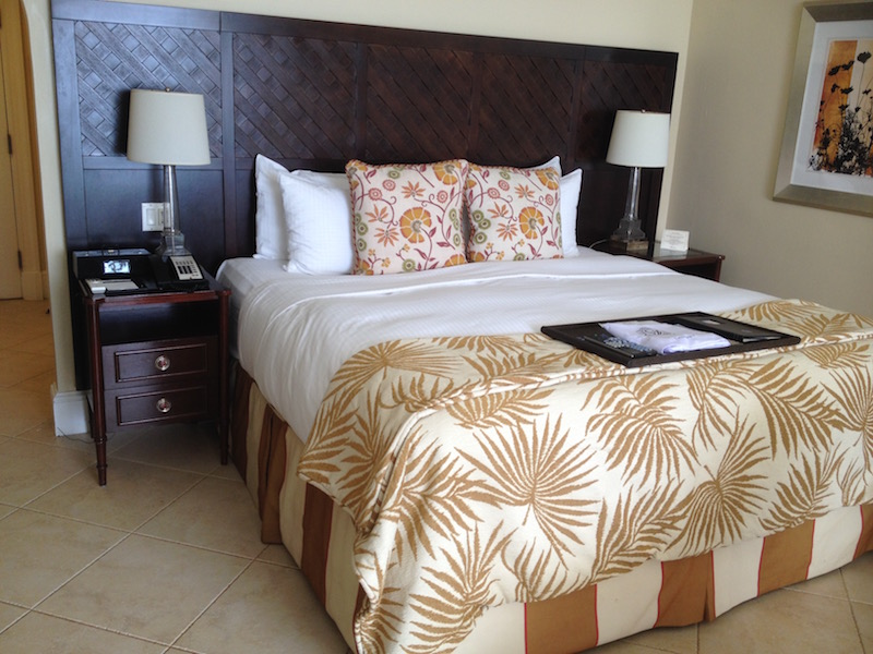 King-size bed at the Fairmont Royal Pavilion barbados