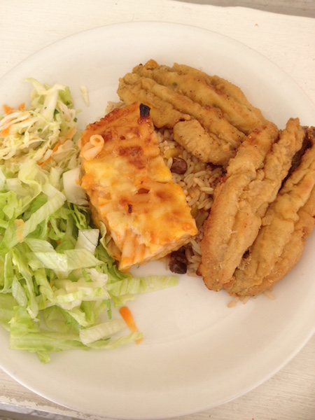 Fried flying fish and macaroni pie